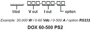 DANA DO Series Double Regulation Power Supplies Order Example