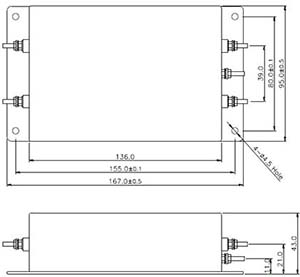 EMCIS DT Series EMI Filters Shape and Dimensions