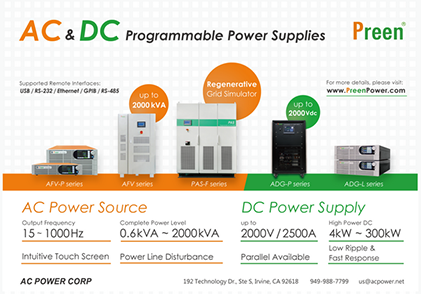 Preen AC and DC Programmable Power Supplies