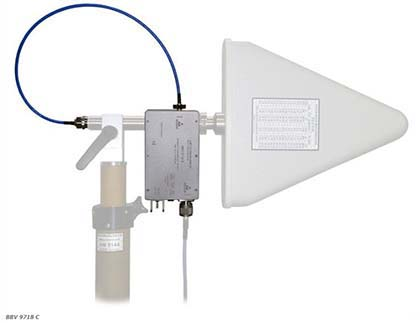 Schwarzbeck BBV 9718 C - Microwave Broadband Preamplifier Mounted on Mast with Antenna